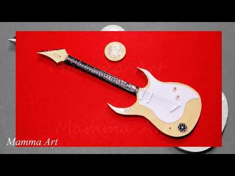 Miniature Guitar | mini guitar | Paper Craft | Home Decor Idea | Miniature Guitar making