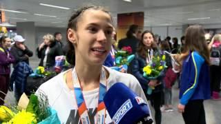 Анастасия Брызгина, бронзовый призер зимнего ЧЕ-2017 (4х400 м). Интервью в а/п Борисполь 6/03/2017