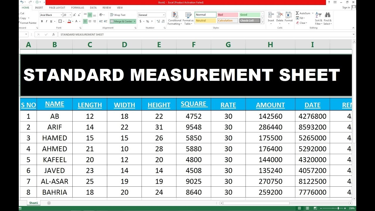 92 how to make standard measurement sheet in excel hindi