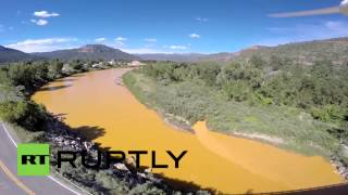 RAW: Aerial view of wastewater contaminated Animas River