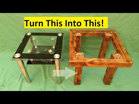 Homemade DIY, Wood and Glass Table!