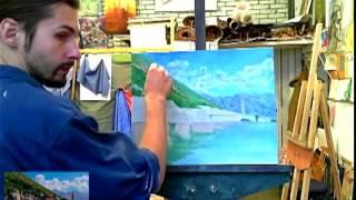 Как рисовать пейзаж с морем маслом видеоурок арт-студия Курсы Живописи