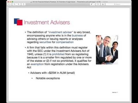 Buying and Selling Financial Advisory Practices an Overview of Legal Issues