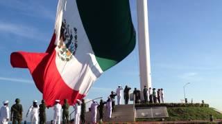 Izamiento Bandera de México con presencia del Gobernador y Autoridades Civiles y Militares