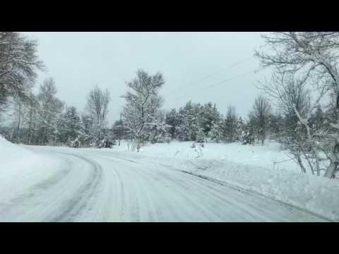 Driving in a winter wonderland near Boyne City, Michigan