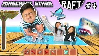 LEAVE OUR POOL ALONE SHARK!!!   RAFT Game play #4 w/ Minecraft Ethan, Emma & Aubrey