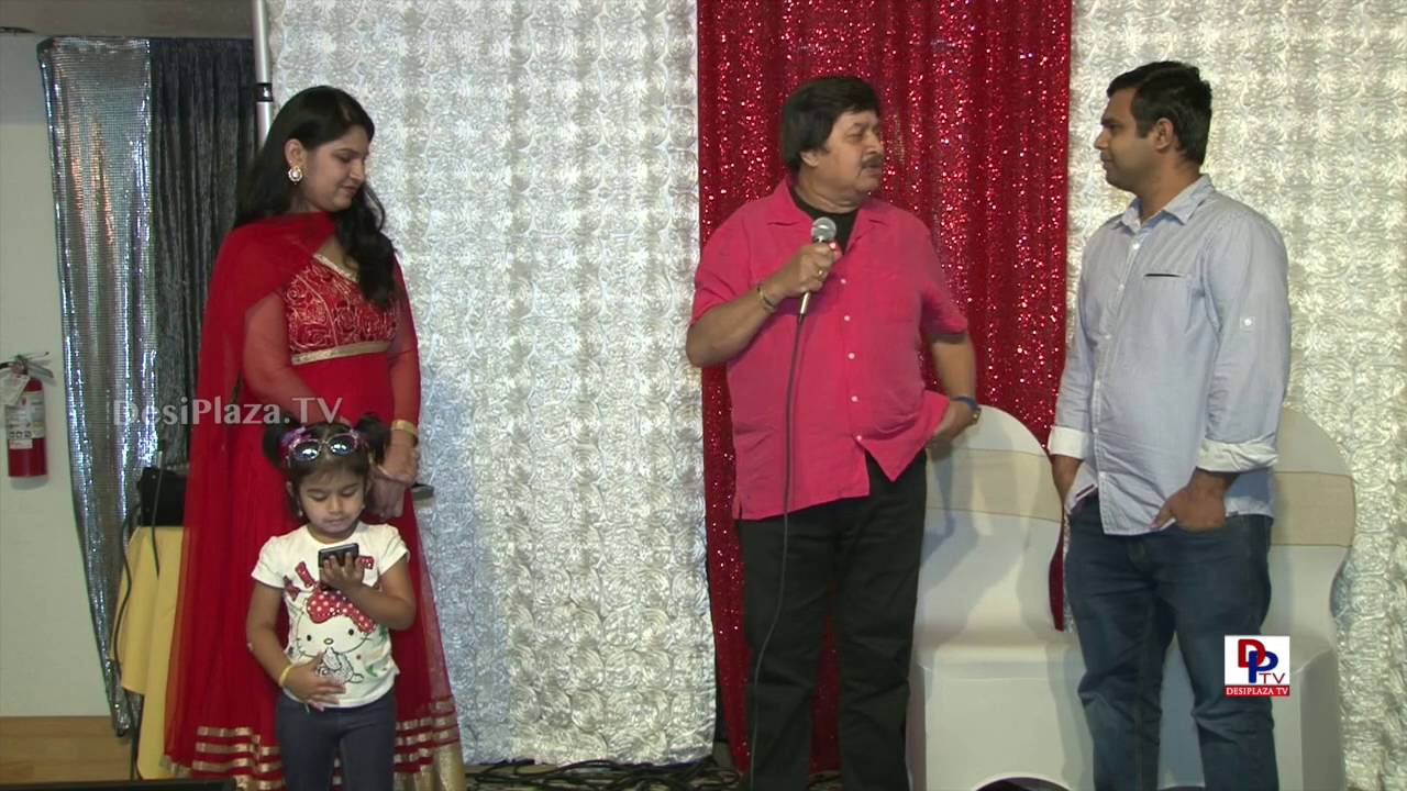 "Pranayaraja Dr.Srinath,Famous Kannada Actor conducting a game ""Adarsha Dampatigalu""in Dallas,Texas."