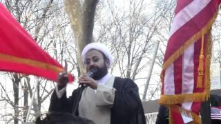 Maulana Sakhawat Hussain Sandralvi at Bahrain protest.