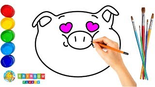 Emoji Pig Coloring Pages for Baby | How to Draw and Paint Emoji Art Colours for Kids
