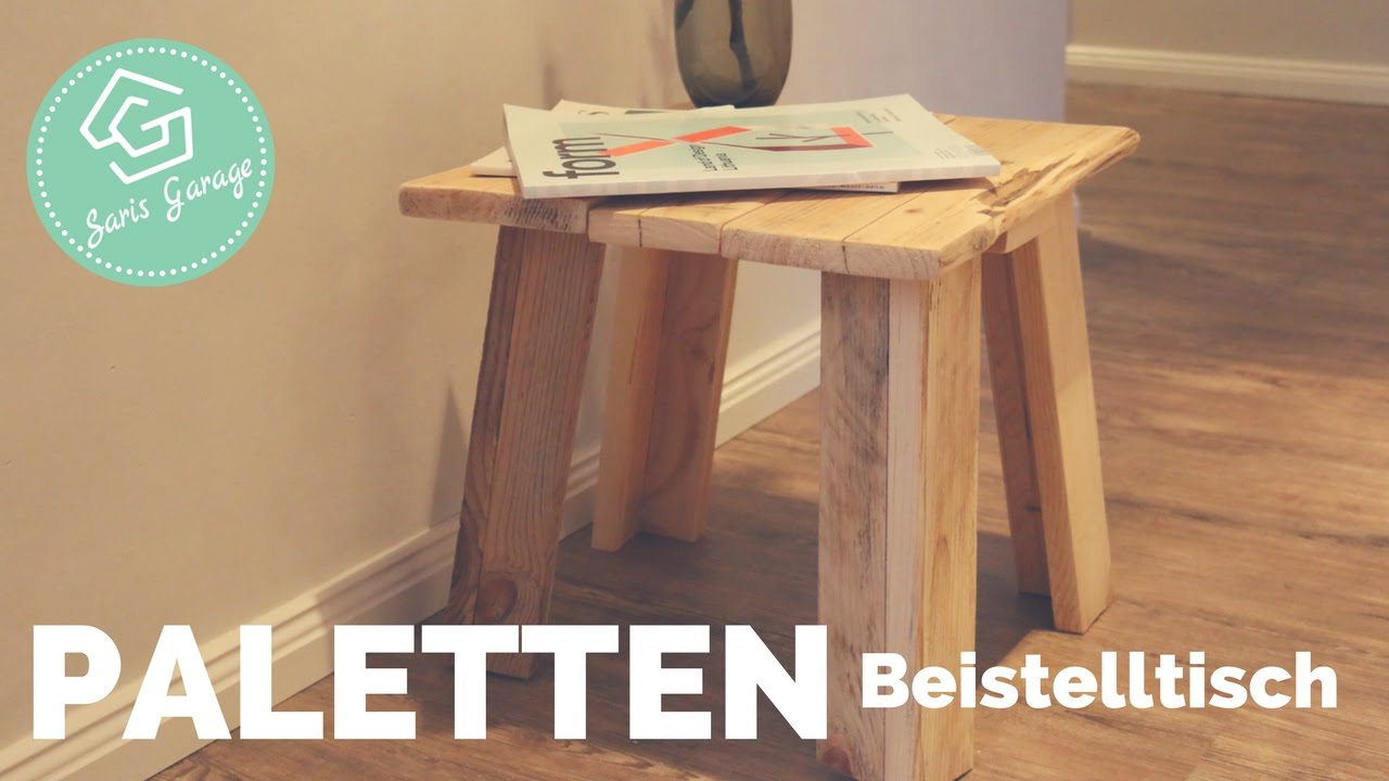 beistelltisch aus paletten selber bauen upcycling diy. Black Bedroom Furniture Sets. Home Design Ideas