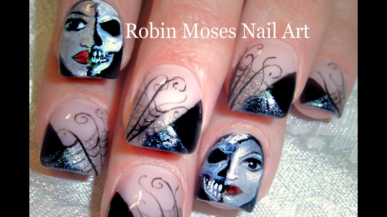 Halloween Nail Art Design Tutorial | Spiderwebs Masks and Skull ...