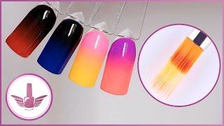 Горизонтальный градиент кистью гребешок гель-лаком | Маникюр, дизайн ногтей