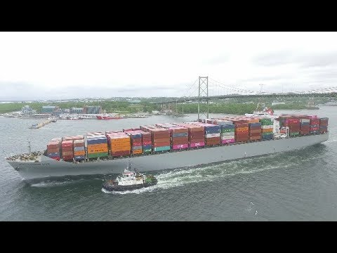 Aerial View of Container Ship GEORGE WASHINGTON BRIDGE inbound Halifax, NS
