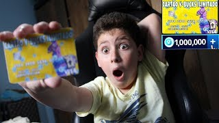 I SURPRISED MY LITTLE BROTHER WITH AN UNLIMITED V-BUCKS CARD! (Addicted to Fortnite)