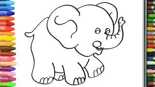 Cómo Dibujar y Colorear pequeño elefante | Dibujos Para Niños | Aprender Colores