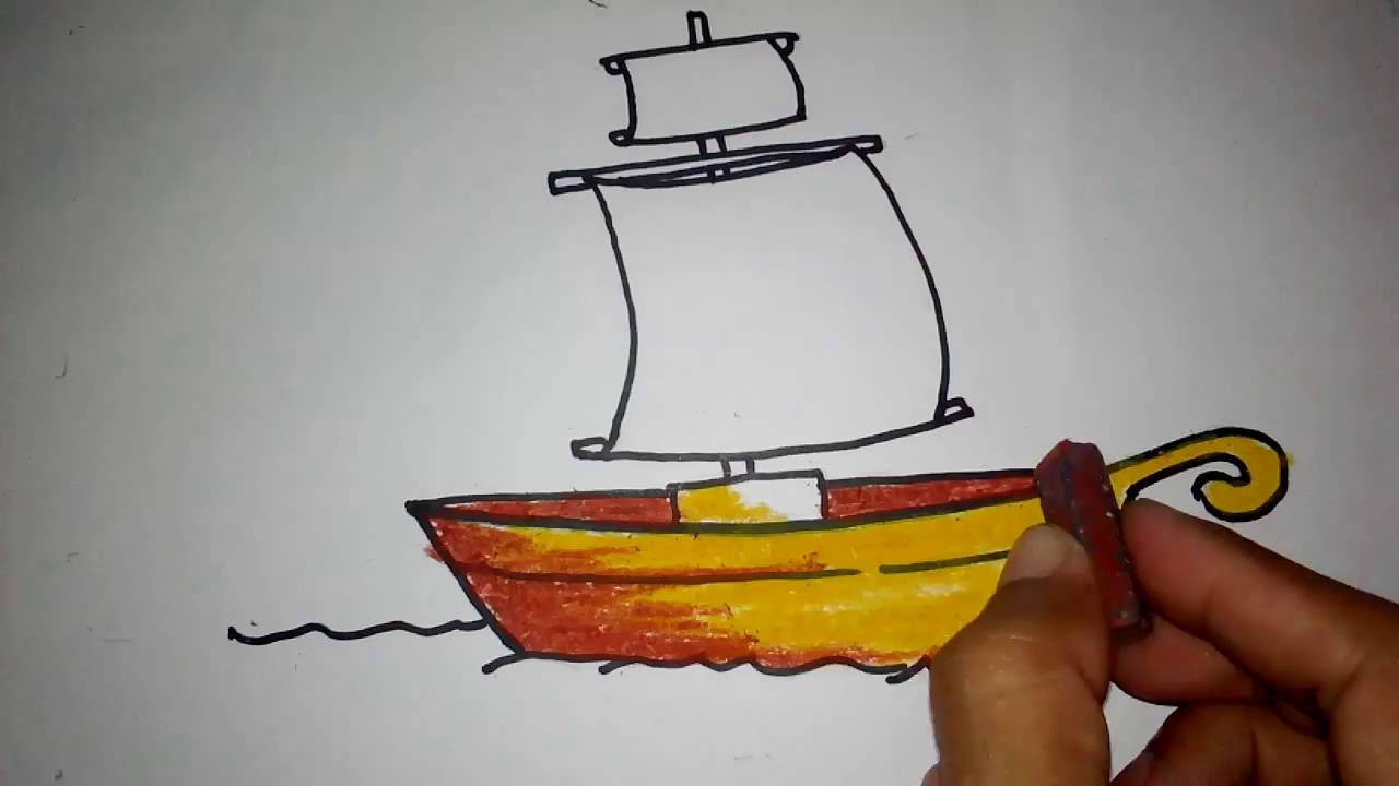 Cara Menggambar Kapal Layar Untuk Anak Youtube
