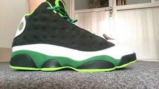2020 Air Jordan 13 PE Oregon Ducks Green On Foot