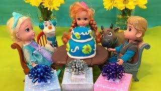 Surprise Birthday Party for Anna Frozen Fever Cake Secret Gift from Kristoff