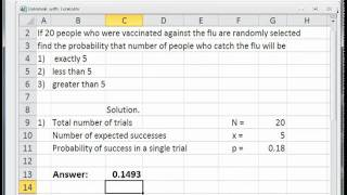 Solve Binomial Distributions Problems with Excel