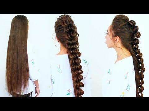 Стильная прическа на длинные волосы на резинках/Плетение косы 💜 Amazing Hairstyle 2018