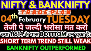 Bank Nifty & Nifty tomorrow 04th FEBRUARY 2020 Daily Chart Analysis - Option Chain Analysis