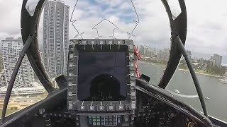 Flying A Fighter Jet Between Buildings