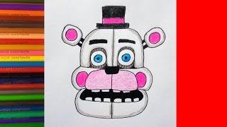 How to draw Funtime Freddy, FNaF Sister Location, Как нарисовать фантайм Фредди