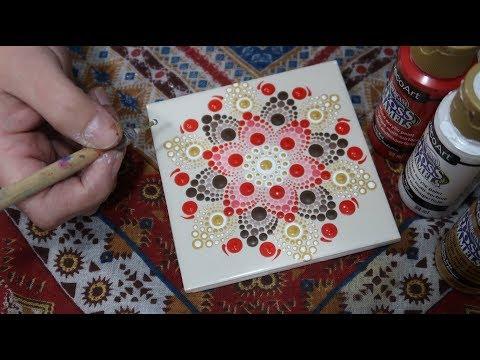Ceramic Tile Dot Mandala Coasters I How To Paint Dot Mandalas #52 Lydia May -Dotty Mandolly