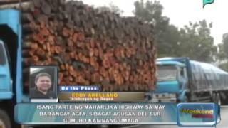 Isang parte ng Maharlika Highway sa Brgy. Agfa, sibagat, Agusan Del Sur, gumuho kaninang umaga