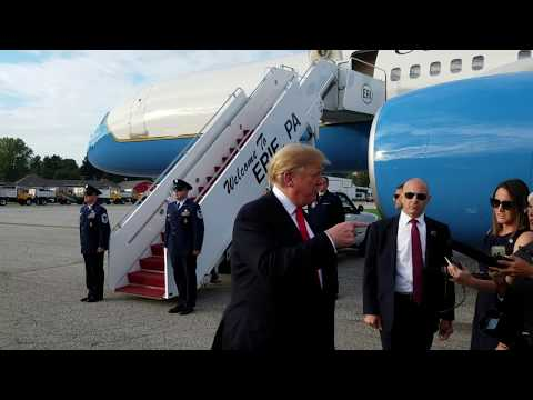 President Donald Trump arrives in Erie