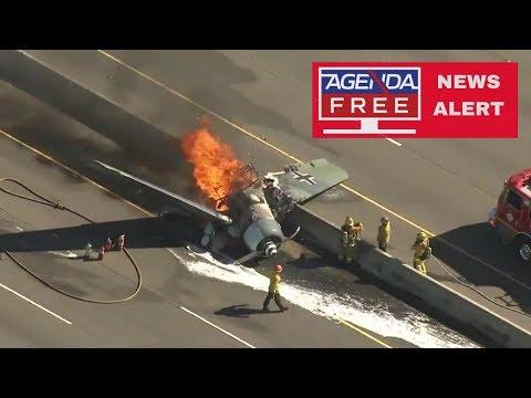 World War II Plane Crashes on CA Freeway - LIVE COVERAGE