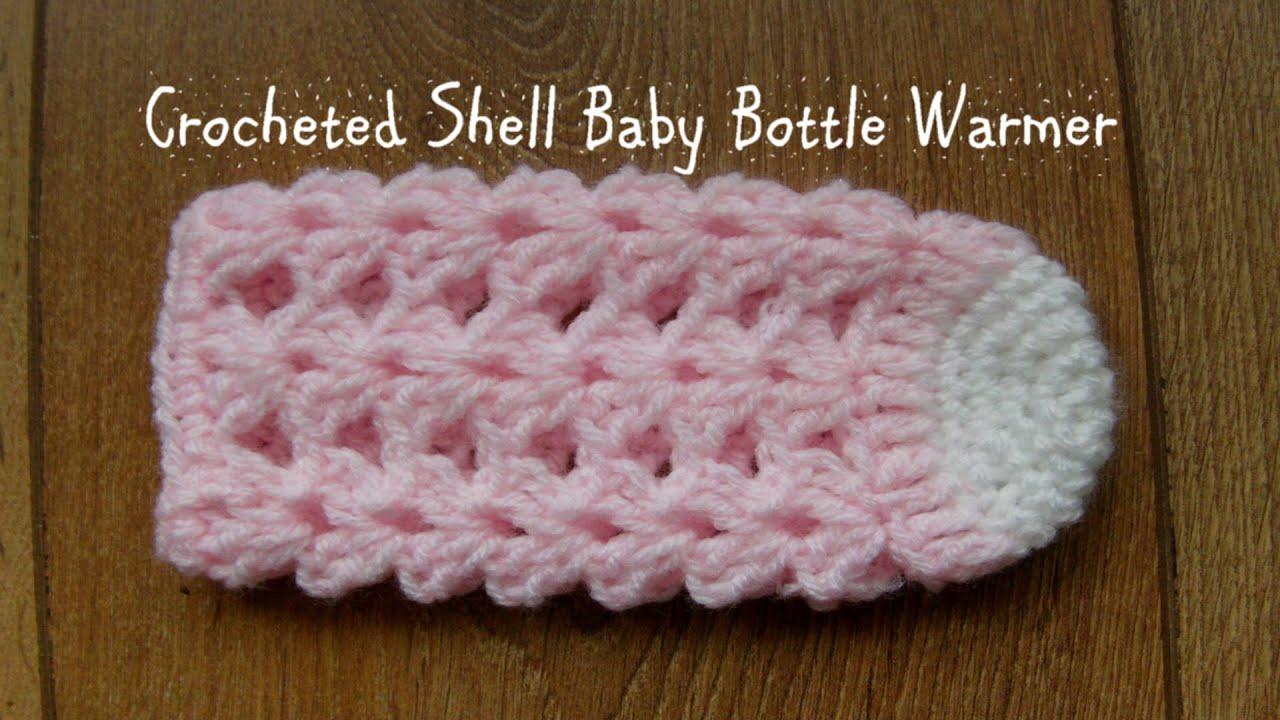 Crocheted shell baby bottle warmer youtube bankloansurffo Choice Image