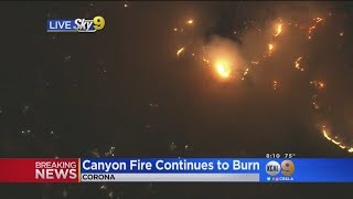 Homes Under Threat As 1,500-Acre Canyon Fire Burns Corona Hillside