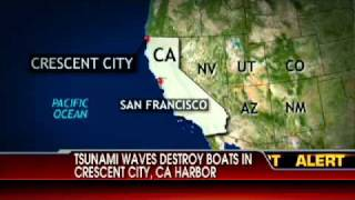 Tsunami Waves Destroy Boats in Crescent City, CA