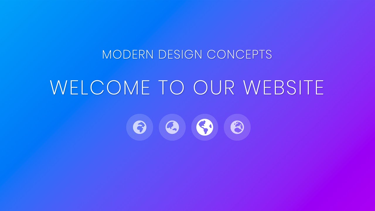 Full Screen Gradient Landing Page with HTML5, CSS3, Bootstrap 4, & Font Awesome