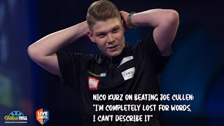 German ace nico kurz reacts to a 3-1 upset of joe cullen continue his dream debut at the world championship and move through round three ally pally....