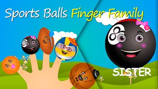 The ball family ☻ finger family song ☻ american football ,basketball , baseball, tennis ball,golf ba