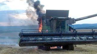 FENDT brennt ab - Mähdrescher - Feuerwehr im Einsatz