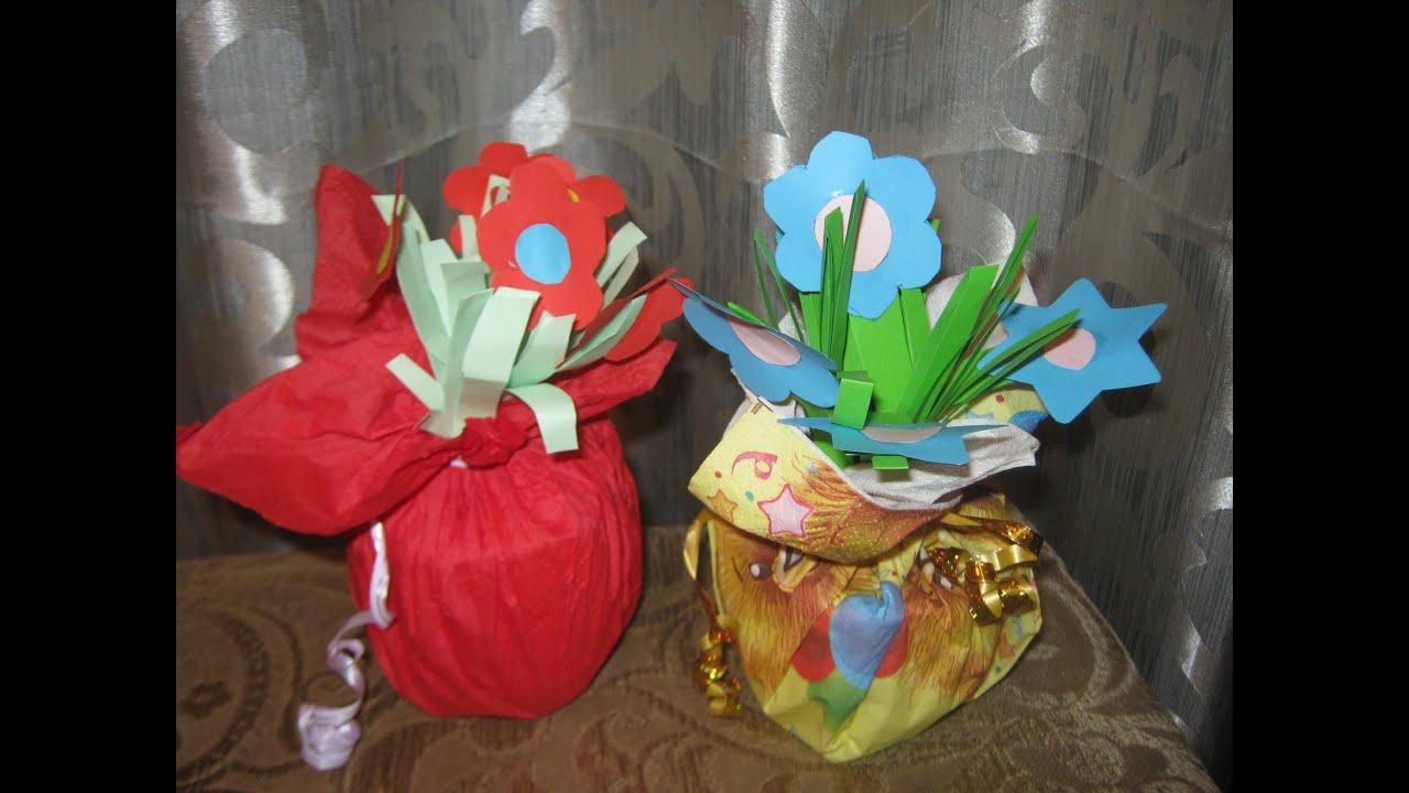 Поделка горшочек с цветами