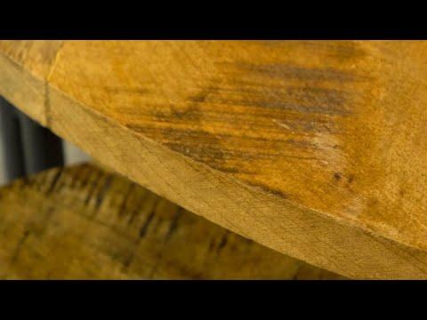 Industriële salontafel set Lara mangohout metaal rond (2 stuks)