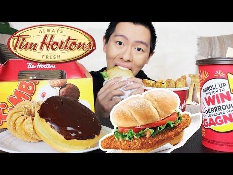TIM HORTONS MUKBANG   Fresh Donuts & Crispy Chicken Sandwich   Eating Show + STORYTIME