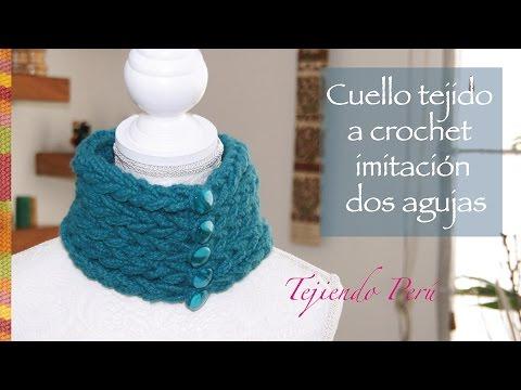 Cuello tejido a crochet que parece tejido en dos agujas con lana muy ...
