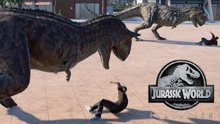 2 T-Rex & 2 Carnotaurus Breakout & Fight! Jurassic World Evolution (4K 60FPS)