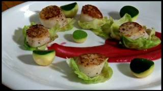 Derek's Kitchen: Pan-seared Sea Scallop With Brussel Sprouts And Beet Purée