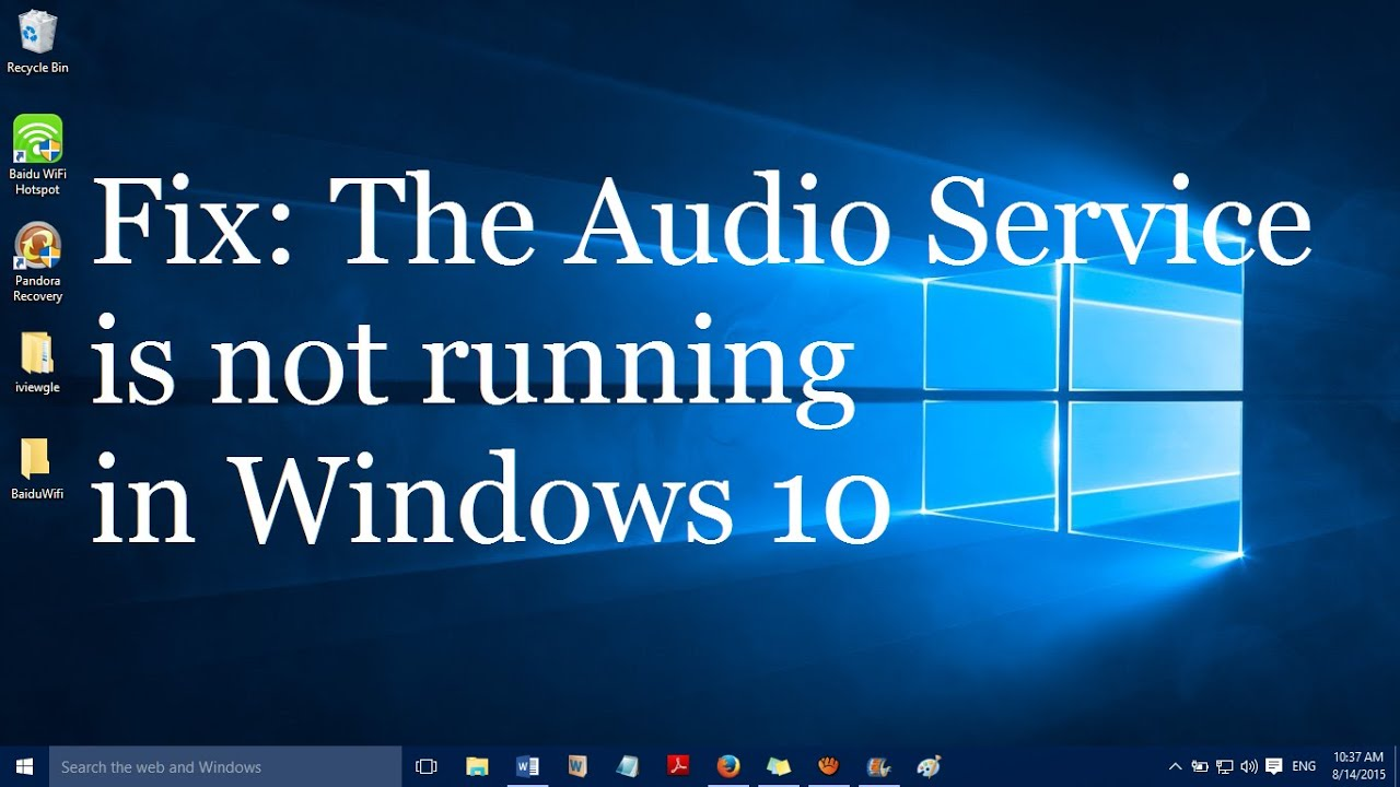 audio service isnt running windows 10