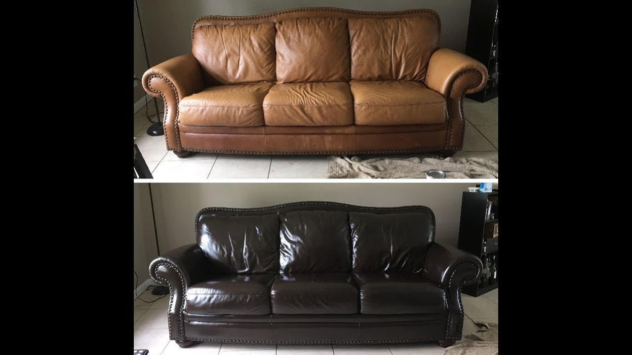 Using Wood Stain To Make This Leather Couch Look Brand New