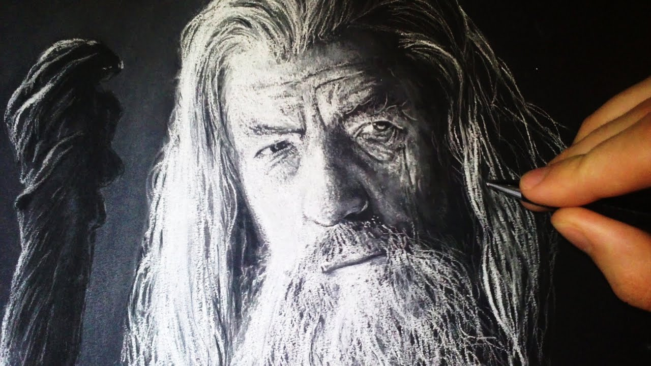 Gandalf - Drawing with White Charcoal Portrait - YouTube