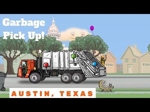 Garbage Truck Pick Up In Austin Texas! l Armadillos, Bats, Smash Trash
