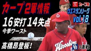 広島カープ2軍WL18 今季ワーストの16安打14失点 高橋昂2度目の登板!