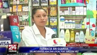 Cámaras captan violento asalto en farmacia de SMP